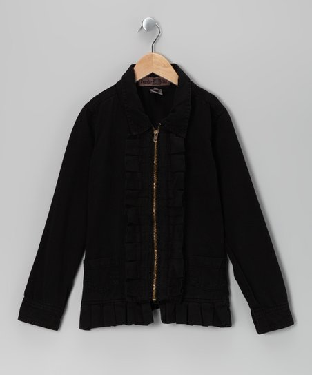 Black Pleated Twill Jacket - Girls