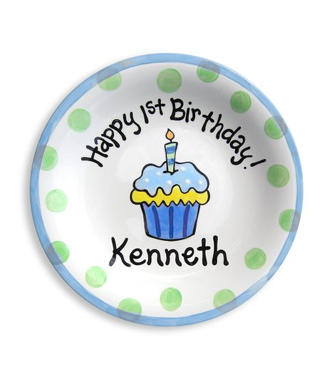 Little Worm & Co. Blue Cupcake Personalized Plate