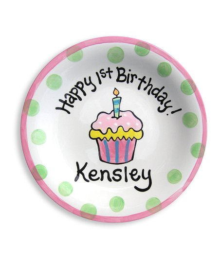 Little Worm & Co. Pink Cupcake Personalized Plate