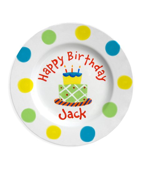 Little Worm &amp; Co. Green &amp; Blue Birthday Cake Personalized Plate