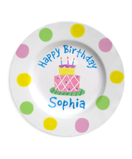 Little Worm & Co. Pink & Yellow Birthday Cake Personalized Plate