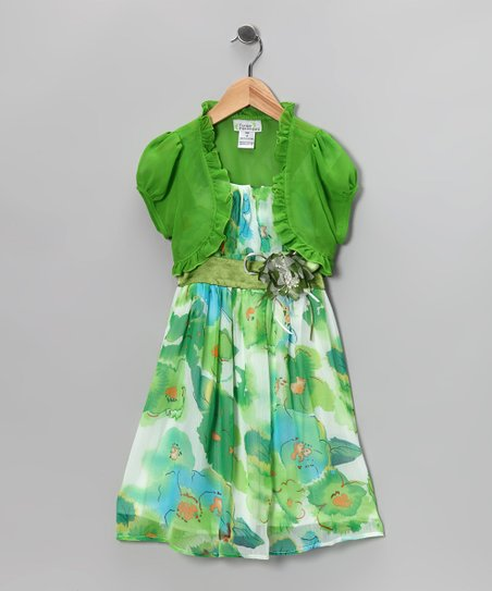 Green Flower Dress & Shrug - Toddler