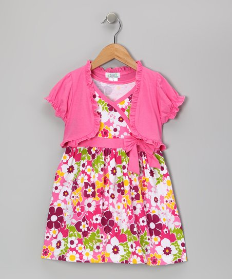 Pink Flower Dress & Shrug - Infant, Toddler & Girls