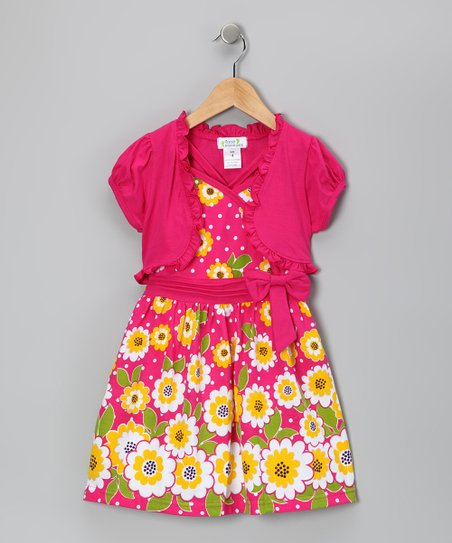 Fuchsia Polka Dot Dress & Shrug - Infant, Toddler & Girls
