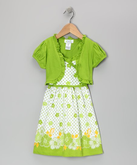 Lime Polka Dot Flower Dress & Shrug - Infant, Toddler & Girls
