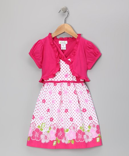 Fuchsia Polka Dot Flower Dress & Shrug - Infant, Toddler & Girls