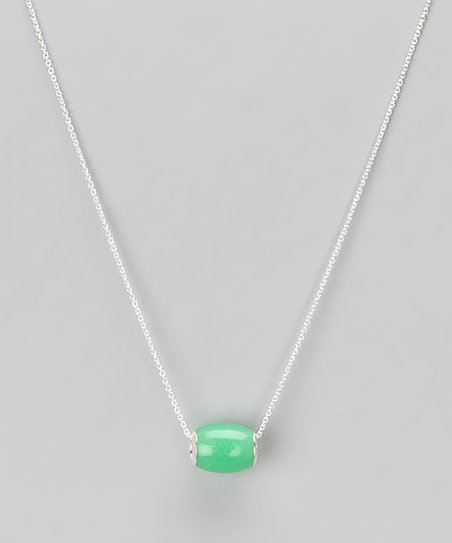 Green Jade & Sterling Silver Barrel Pendant Necklace