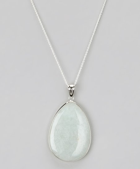 Light Green Jade Pear Pendant Necklace