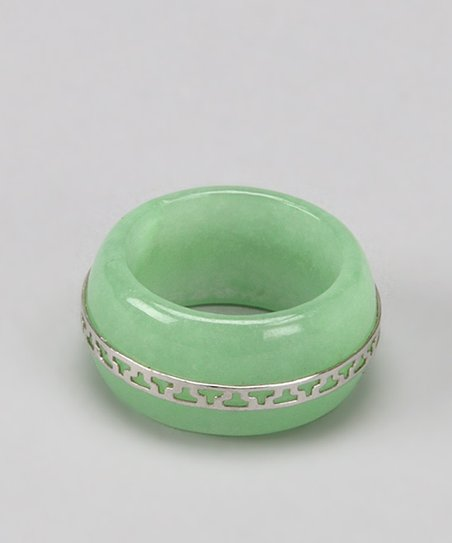 Light Green Jade & Sterling Silver Eternity Ring