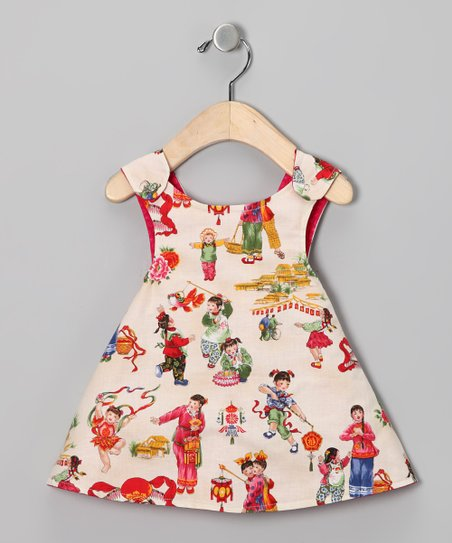 Cream Children Reversible Dress - Infant, Toddler & Girls