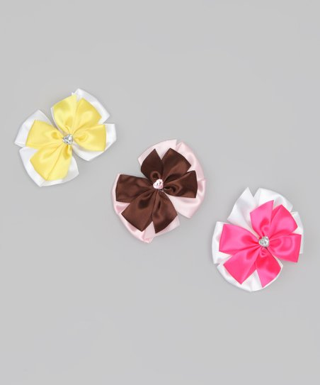 Pink, Yellow & Brown Bow Clip Set