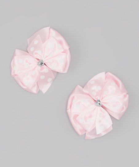 Pink Polka Dot Bow Clip Set