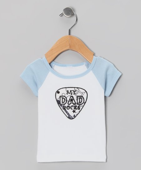 Light Blue 'My Dad Rocks' Raglan Tee - Infant