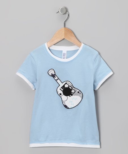 Light Blue Guitar Layered Tee - Toddler