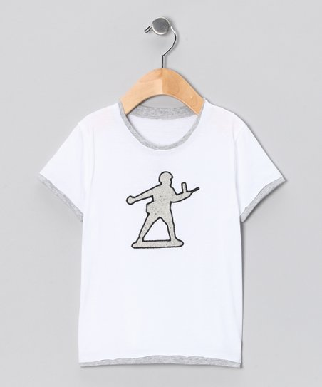 White &amp; Gray Toy Soldier Tee - Toddler