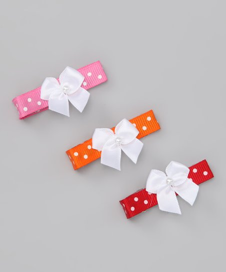 Red, Orange & Pink Polka Dot Clip Set