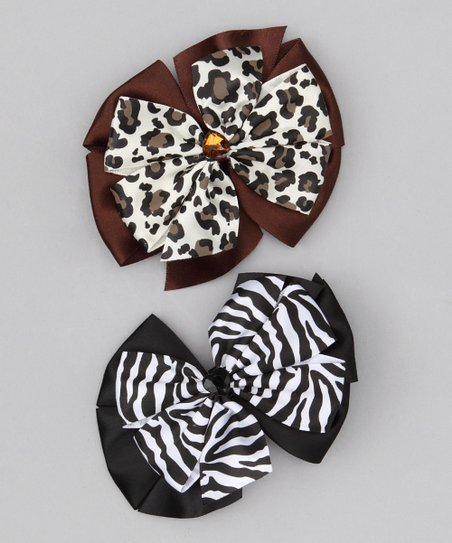 Brown Leopard & Black Zebra Bow Clip Set
