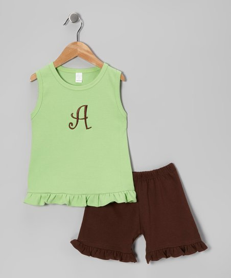 Lime Ruffle Initial Tank & Shorts - Infant, Toddler & Kids