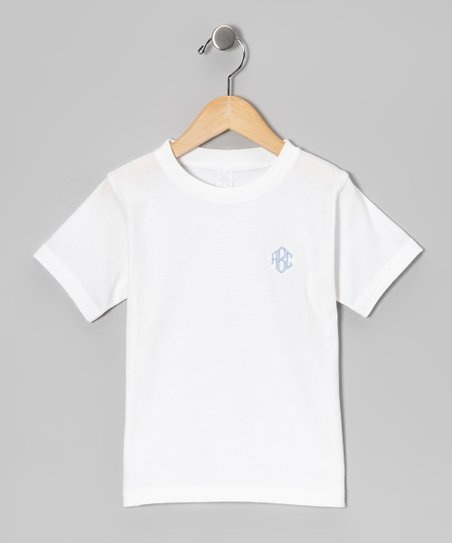 White &amp; Blue Monogram Tee - Infant, Toddler &amp; Kids