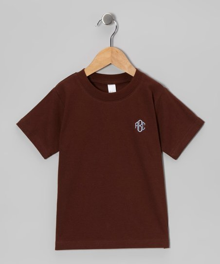 Chocolate & Blue Monogram Tee - Infant, Toddler & Kids