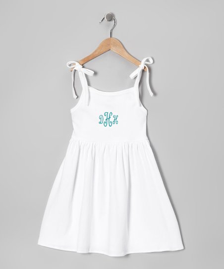 White &amp; Blue Tie Monogram Dress - Toddler &amp; Kids