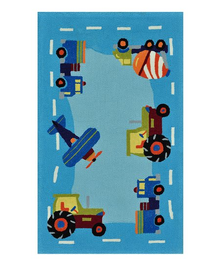 Light Blue Trucks Chica Rug