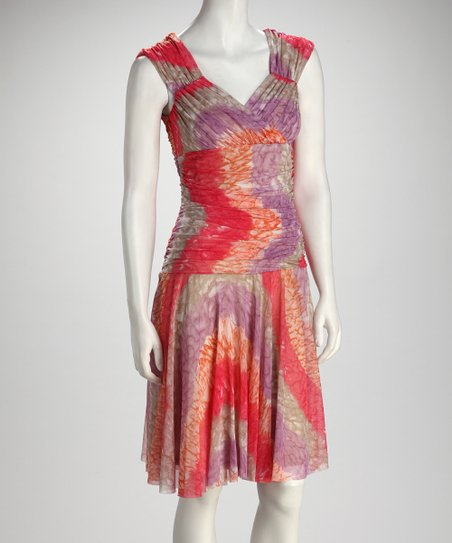 Coral Tie-Dye Ruched Dress - Women