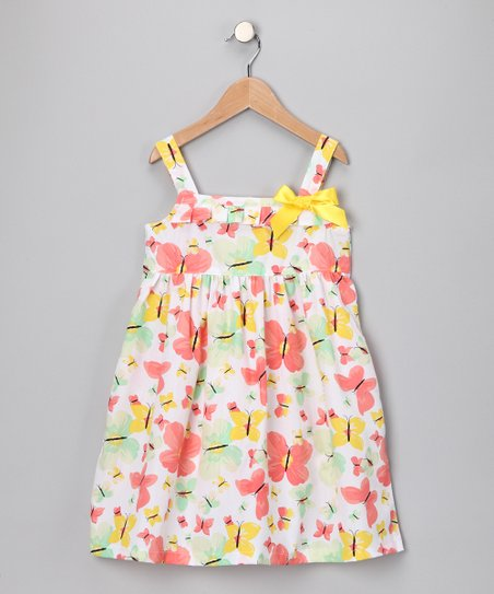 White & Yellow Butterfly Babydoll Dress - Toddler & Girls