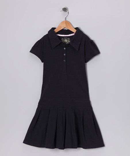 Navy Polo Dress - Girls