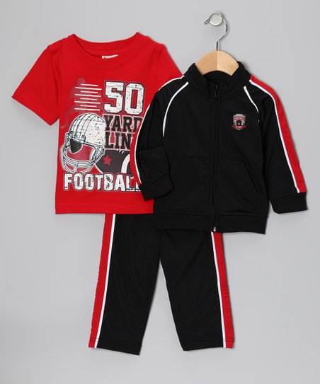 Black & Red 'Yard Line' Track Jacket Set - Infant