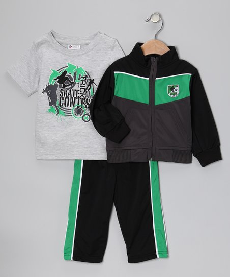 Black & Green 'Skate Contest' Track Jacket Set - Infant