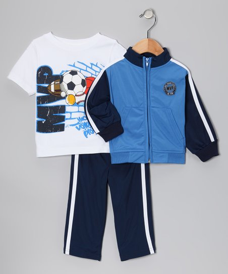 Blue 'MVP' Track Jacket Set - Infant