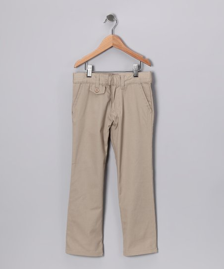 Khaki Tab Pants - Girls