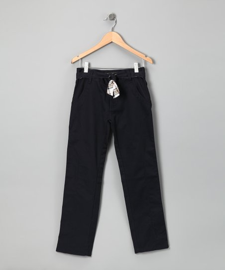 Navy Plaid Belted Pants - Girls