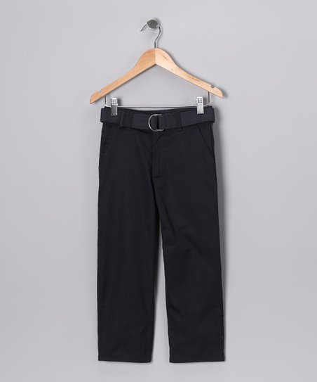 Navy Belted Pants - Boys