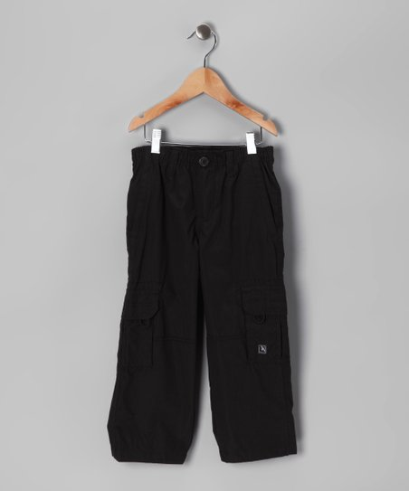 Black Mesh-Lined Microfiber Cargo Pants - Boys