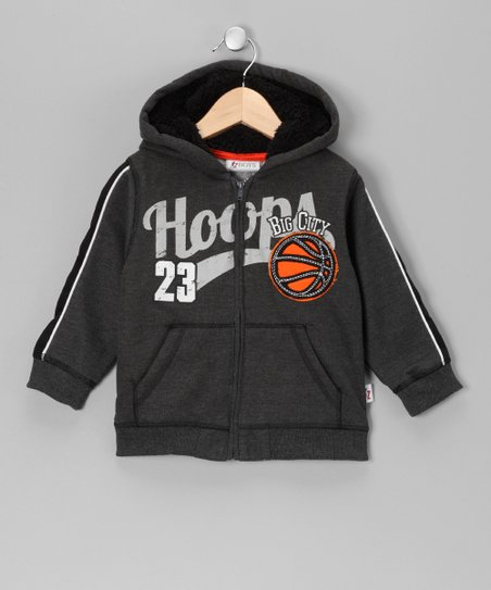 Heather Gray 'Big City Hoops' Fleece Zip-Up Hoodie