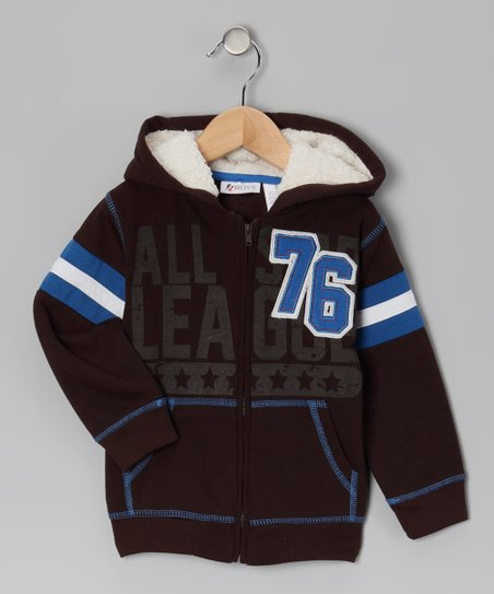 Brown 'All League 76' Zip-Up Hoodie - Toddler
