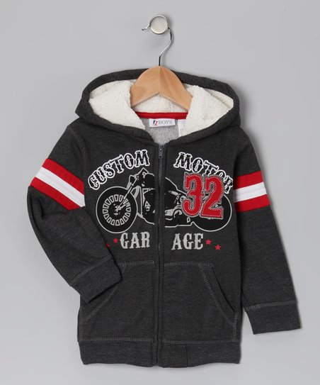 Charcoal 'Custom Motor Garage' Zip-Up Hoodie - Toddler
