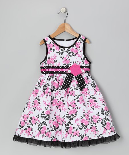 Pink & Black Floral Dress - Girls