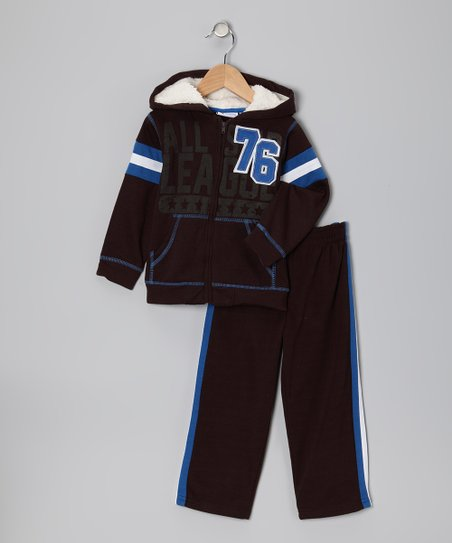 Brown '76' Zip-Up Hoodie & Pants - Boys