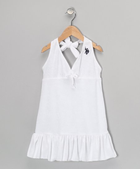 White Ruffle Halter Dress