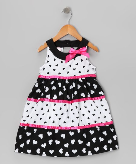 Pink Heart Yoke Dress - Toddler & Girls