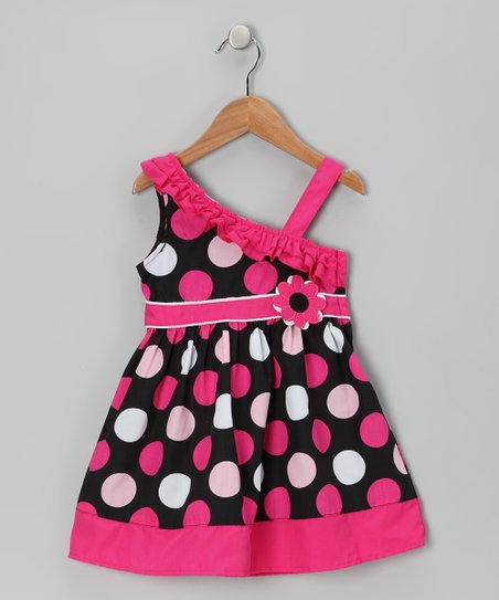 Hot Pink Polka Dot Asymmetrical Dress - Girls
