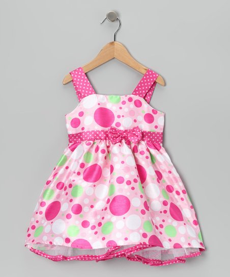 Pink & Green Bow Dress - Girls