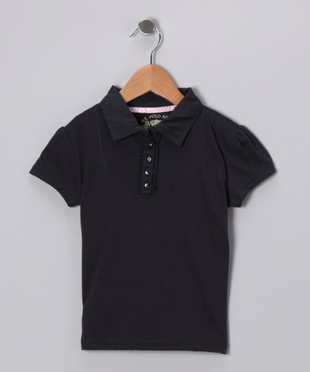 Navy Cap-Sleeve Polo - Girls