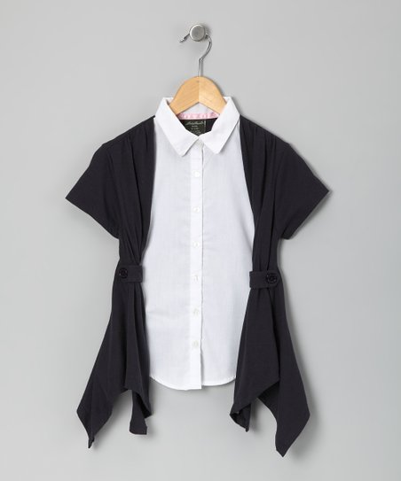 Navy Flyaway Blouse - Girls