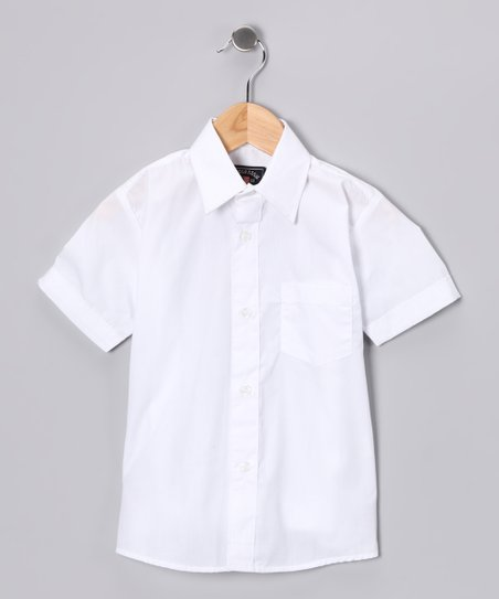 White Short-Sleeve Button-Up - Boys