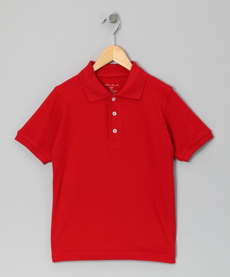 Red Woven Polo - Boys