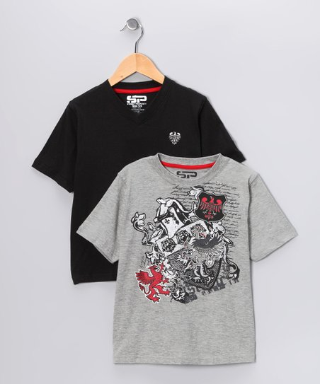 Gray &amp; Black Royal Crest Tee Set - Boys